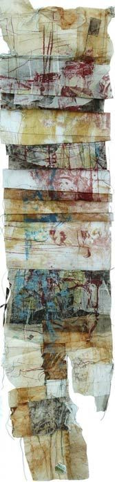 Masha Ryskin - Fossil, intaglio, litho, teabags, 13 in x 50 in: