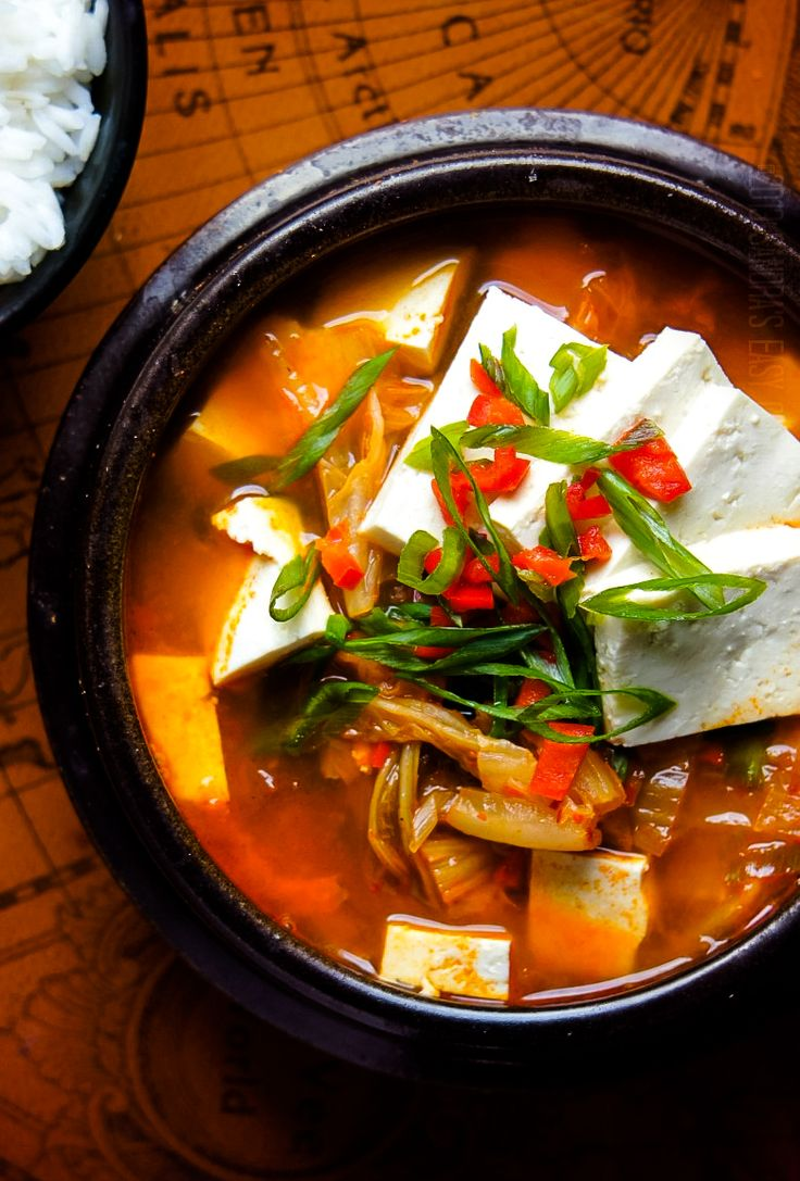 Delicious homemade recipe for Kimchi JjiGae - Korean Kimchi Stew, can easily be made vegetarian if you sub pork for mushrooms