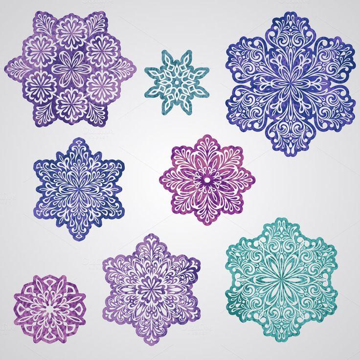 Vector Paper Cut Watercolor Snowflak by alexmakarova on @creativemarket