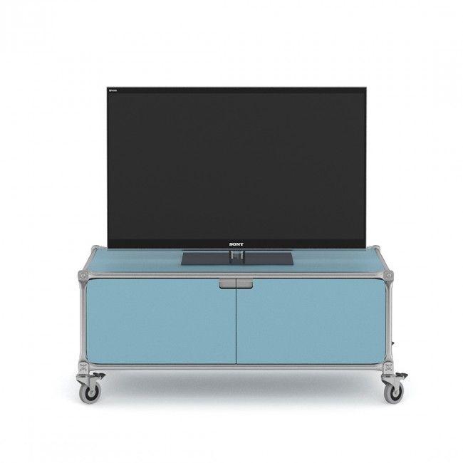 tv möbel system 180 blau i türen und auf rollen i mobil | system, Möbel