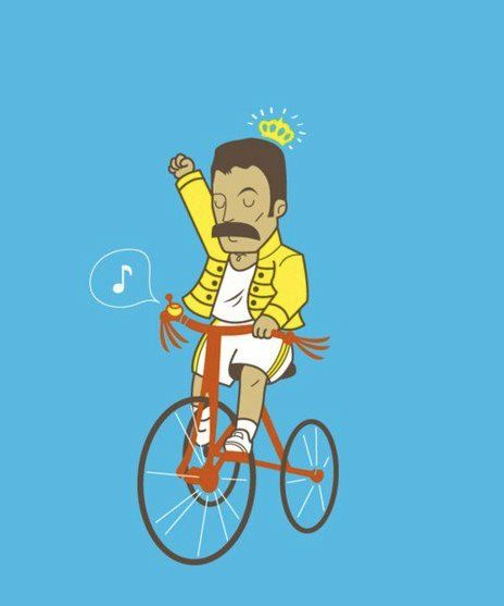 The King ride his bicycle :: Bicycle Store Paris :: #bicycle Bicicletta #Freddie Mercury illustrazione :: Source sandychocochips