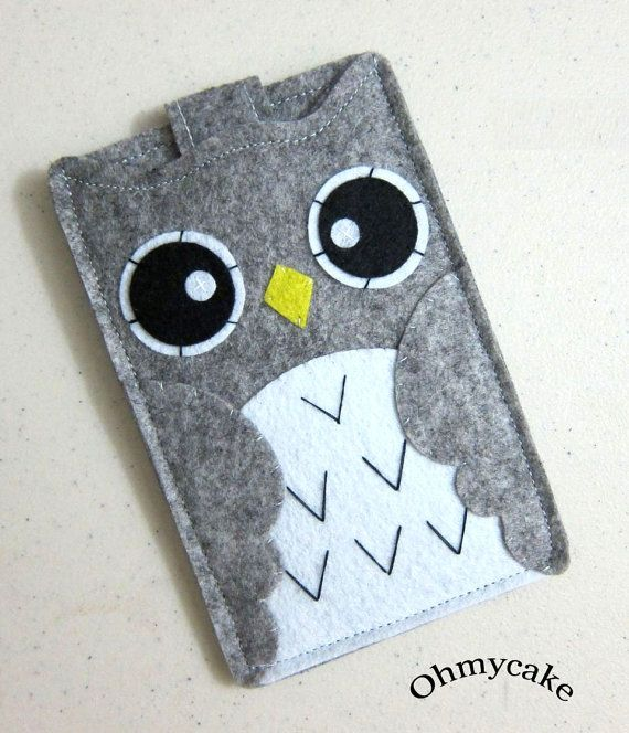 "iPhone Case - Cell Phone Case - iPhone 4 Case - iPod Case - iPod Touch Case - Handmade iPhone Felt Case - "" Grey Owl "" Design"