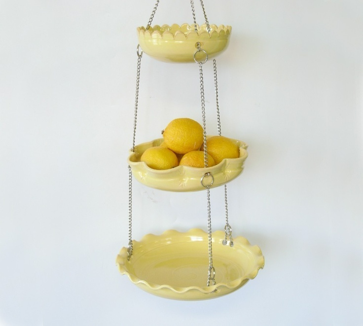 Hanging Kitchen Basket - Set of 3 with UnMatchy Edges - Yellow - MADE TO ORDER.. $84.00, via Etsy.: Kitchens, Hanging Fruit Baskets, Fruits Basket, Yellow, House, Hanging Baskets, Kitchen Baskets, Basket Set