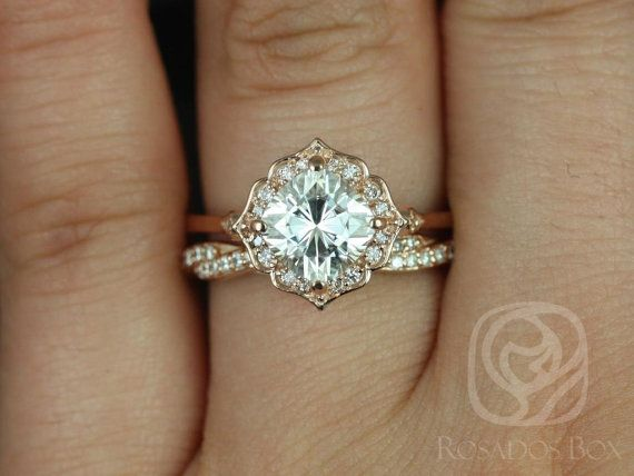 Rosados Box Lily 7mm & Twyla 14kt Rose Gold Cushion F1- Moissanite and Diamond Kite Halo Wedding Set