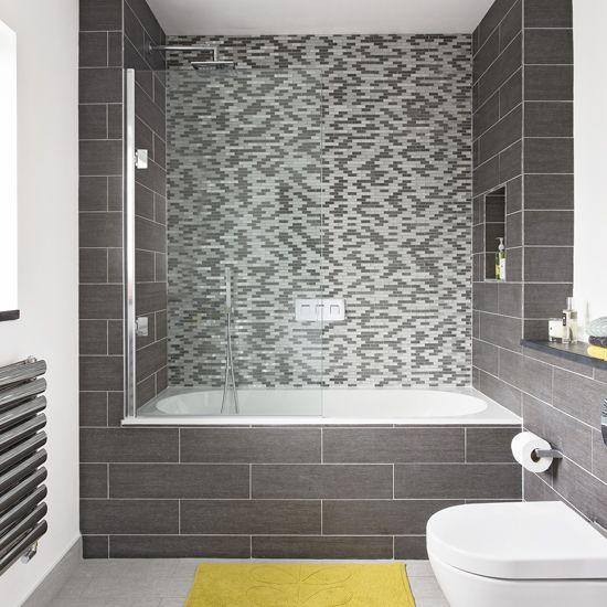 Modern bathroom with grey mosaic tiled wall