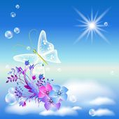 Sky, flowers, and butterfly — Stock vektor