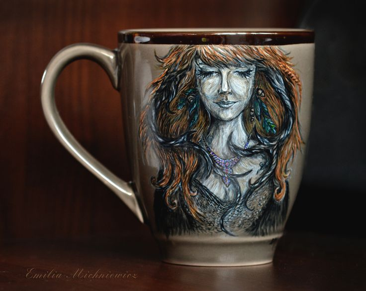 Hand painted porcelain mug https://www.facebook.com/EMsilverART