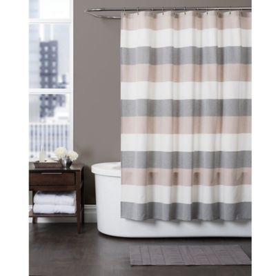 Buy Baltic Linen 54-Inch x 78-Inch Yarn-Dyed Strata Striped Shower Curtain from Bed Bath & Beyond