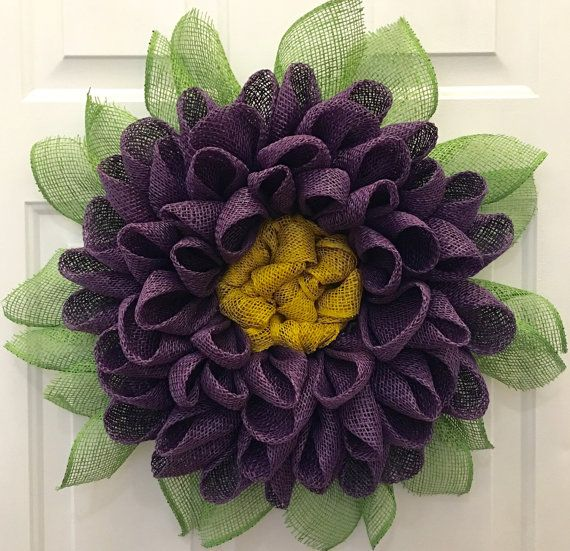 Dahlia Flower Wreath Customize Your Own by JuliesWreathBoutique