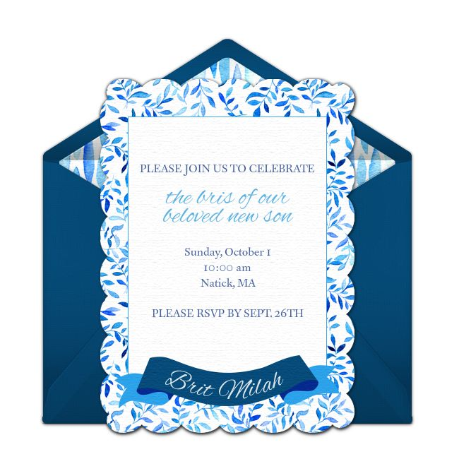 Free Bris invitation with a sophisticated floral pattern design. Wonderful way to invite family to celebrate in the bris ceremony.