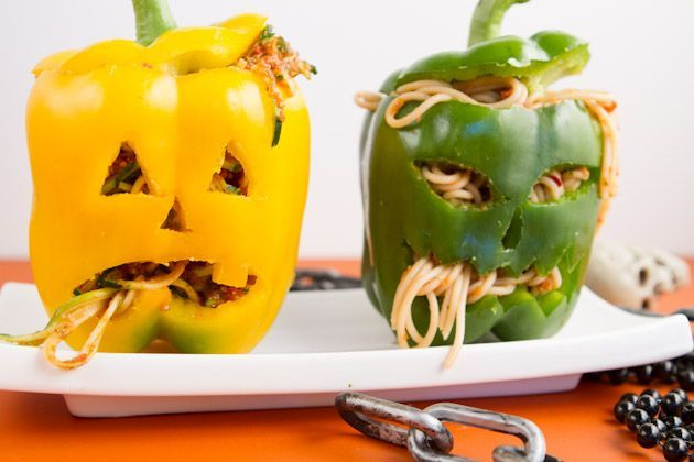 Loving this super easy way to make stuffed peppers into a Halloween themed dinner!