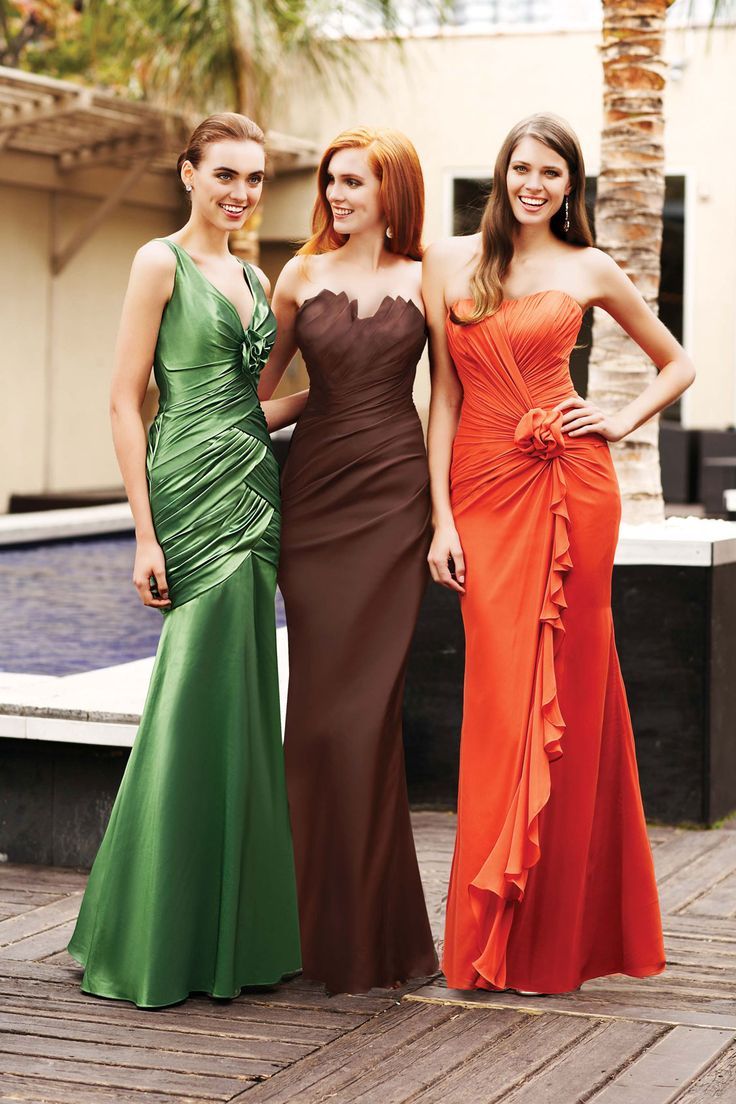 27 best bridesmaids dresses images on pinterest bridesmaid ideas bridesmaid dress collections brown orange and green bridesmaids gown i like the colors not the ombrellifo Images