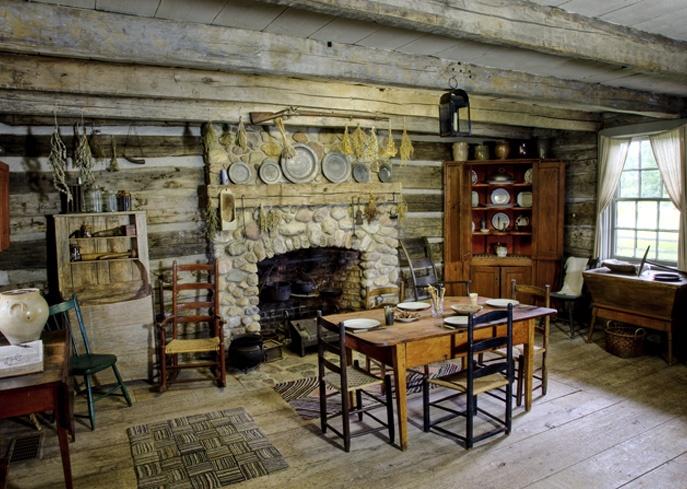 Peter Whitmer Log Home Kitchen FireplacesChurch HistoryRustic InteriorsFireplace