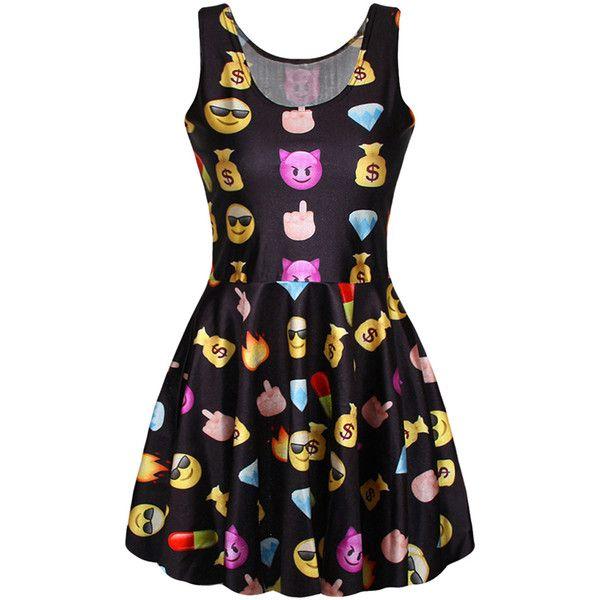 Black Emoji Printed Sexy Fashion Ladies Skater Dress ($14) ❤ liked on Polyvore featuring dresses, black, skater dress, black dress, sexy dresses, black day dress and kohl dresses
