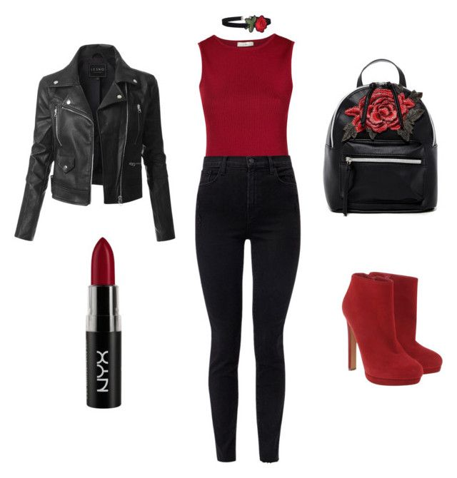 """""""Czerń i czerwień."""" by aquaflorem on Polyvore featuring EGREY, J Brand, Alexander McQueen, LE3NO, NYX and T-shirt & Jeans"""