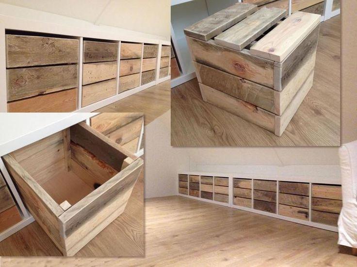 Foto: Hier een compilatie-foto van de kisten die ik voor iemand heb gemaakt. Op maat voor een Ikea Room-Divider. Met extraatje een stevige deksel om van een kist een kruk te maken Missie geslaagd!!!. Geplaatst door HandyHarry op Welke.nl