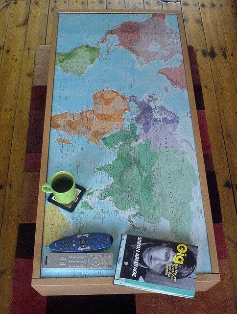 love this diy world map-table by Simon Collison