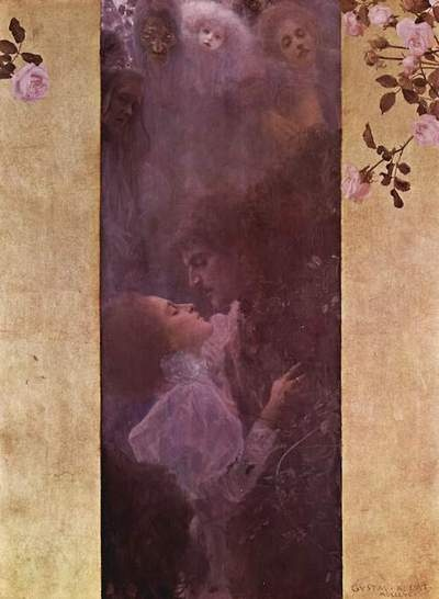 Gustav Klimt. Love, 1895.  I've used a bookmark with this image on it for 20 yrs or so.  My favorite.