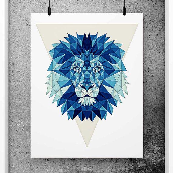 Lion Poster Geometric Art Blue wall decor Minimalist by PFposters