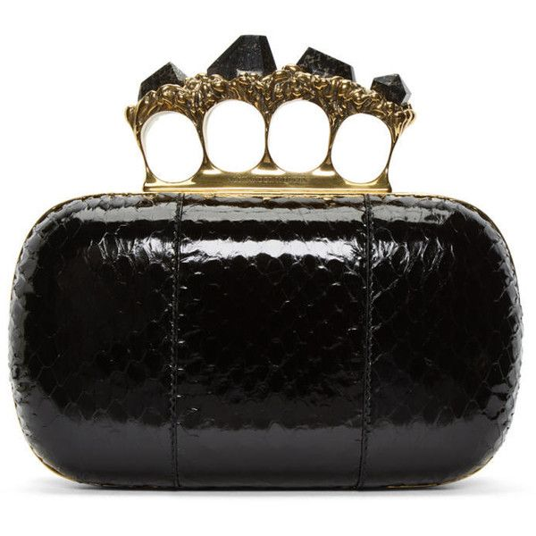 Alexander McQueen Black Snakeskin Knuckle Box Clutch ($2,385) ❤ liked on Polyvore featuring bags, handbags, clutches, black, knuckle clutches, knuckle box clutch, clasp purse, snakeskin clutches and clasp handbag