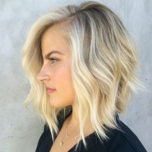 Choppy layered A-line bob by Riawna Capri