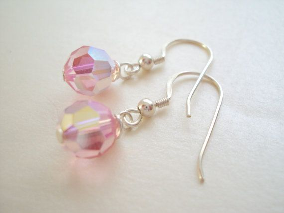 Petite Swarovski Light Pink dangle earrings in sterling silver (925)