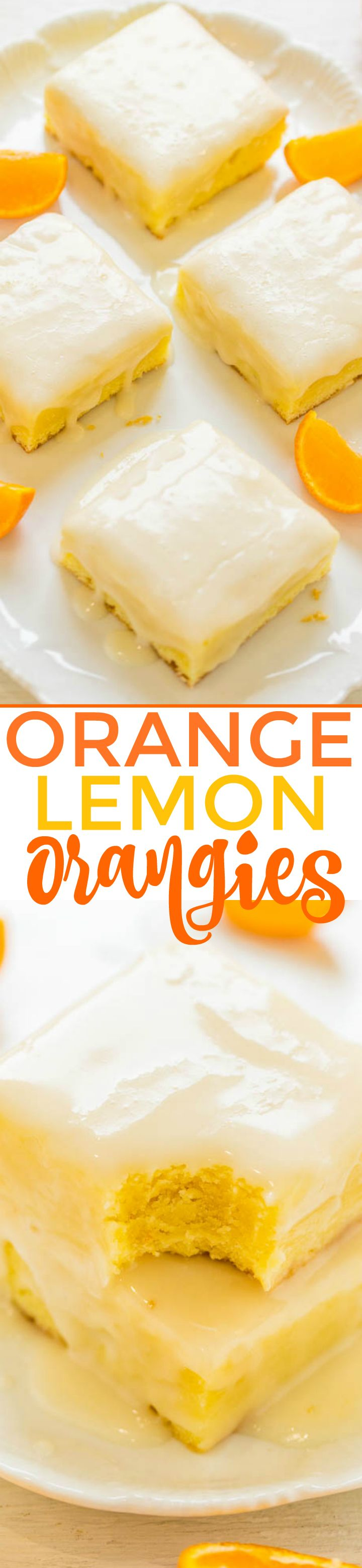 Orange Lemon Orangies – Like brownies, but made with orange, lemon, and white chocolate!! Fast, EASY, dense, chewy, and packed with big, BOLD citrus flavor!!