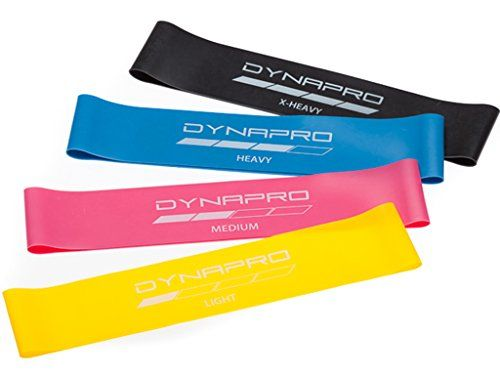 DYNAPRO Resistance Bands- Mini Precision Loop Exercise Bands (Pink-Yellow-Blue-Black) Perfect for any Home Fitness Training Program >>> Click image for more details.