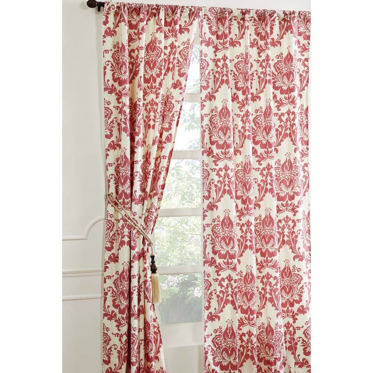 Damask Coral Curtain Panel Pink Size 42 X 96 Dining Room