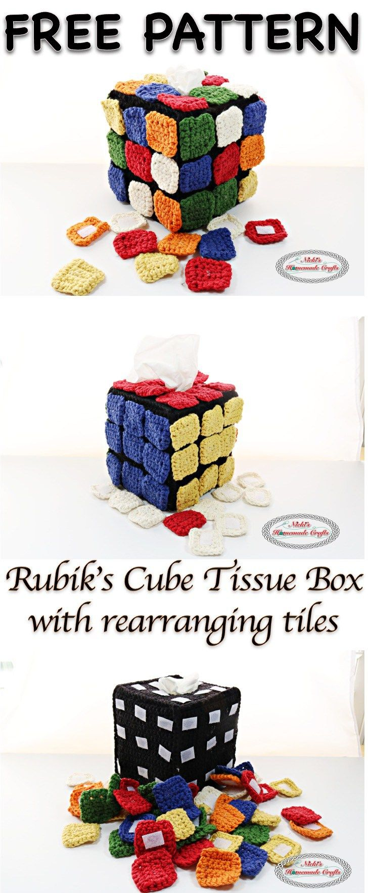 Rubik's cube Tissue Box Cover with rearranging colored square tiles - Free Crochet Pattern