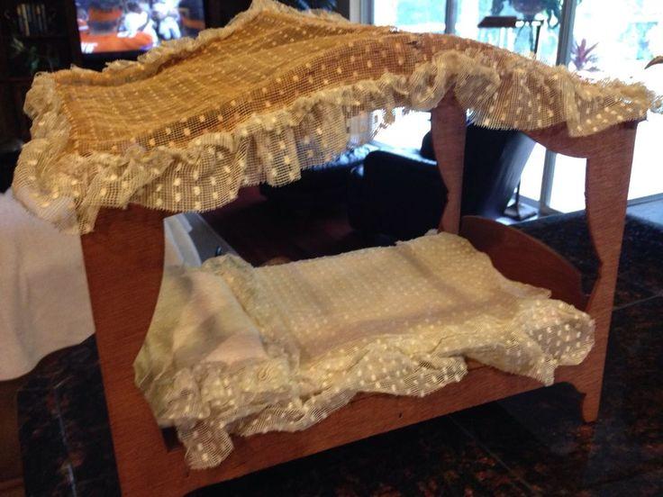 vintage wood canopy bed canopy spread blanket sheet set barbie size unbranded - Light Hardwood Canopy 2016