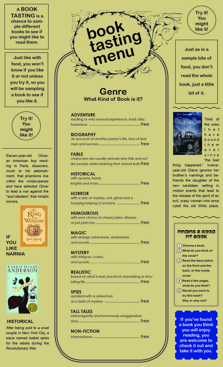 Book Tasting Menu - book tasting idea for the library to have students broaden what they read