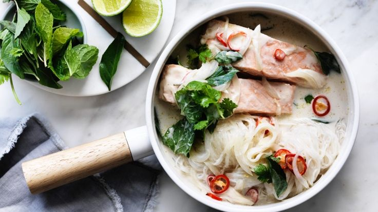 Salmon with coconut milk, glass noodles and herbs recipe