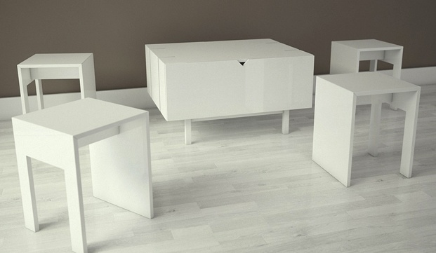 Solid amount of storage that transforms into a coffee table for four people! K-wowy