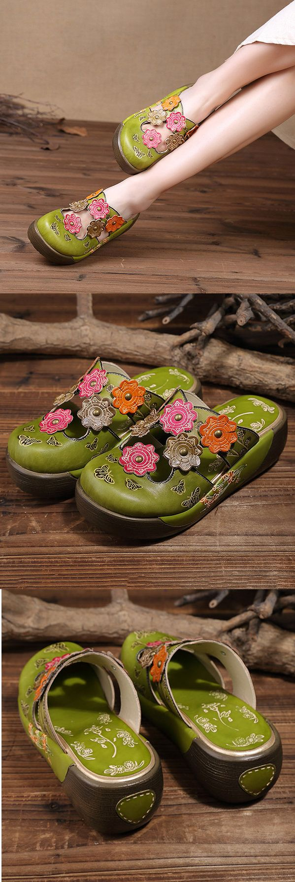 US$48.75 SOCOFY Colorful Flower Butterfly Leather Hollow Out Platform Shoes