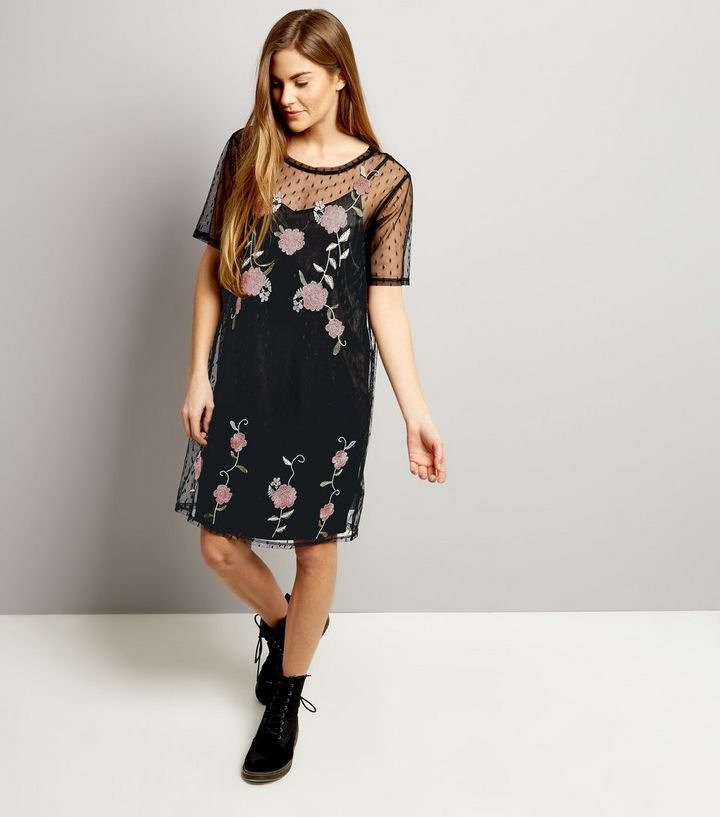 Tall Black Mesh Spot Print Embroidered Dress | New Look