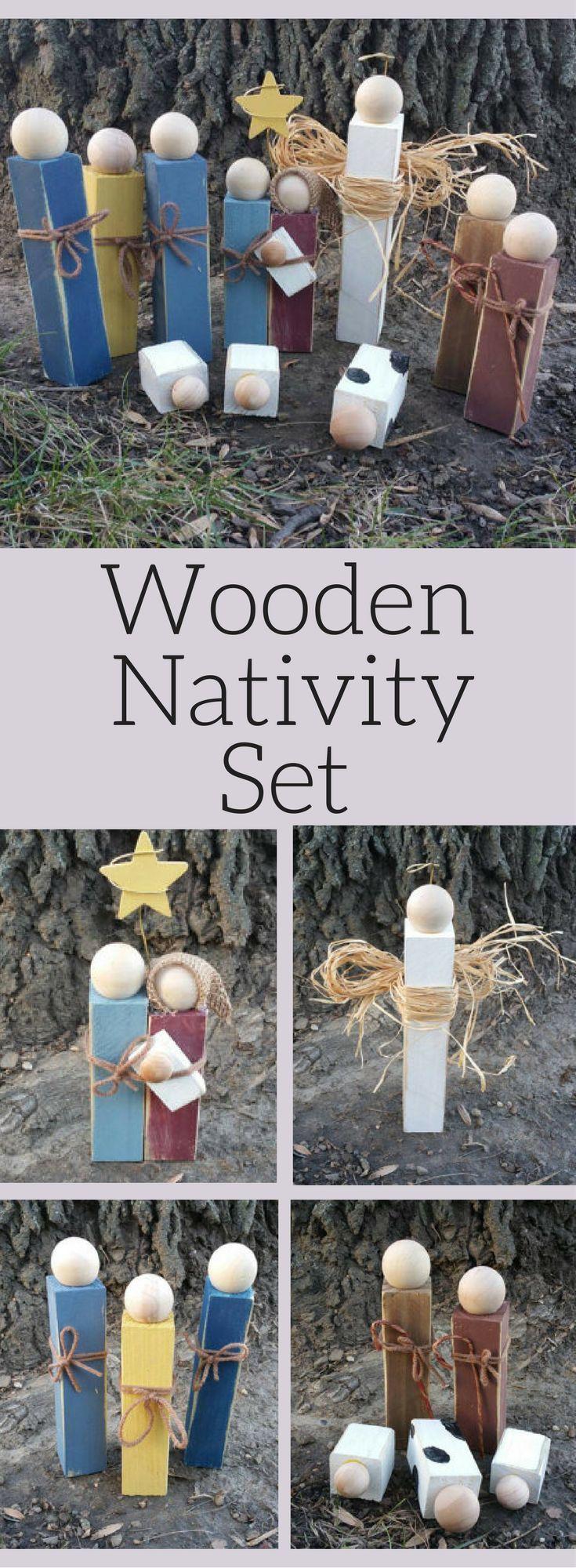 Wooden Nativity Set, Christmas Decor , Wood Christmas Nativity scene, Rustic Christmas Decoration, Rustic decor, Sold as Full 12-Piece Set, #affiliate