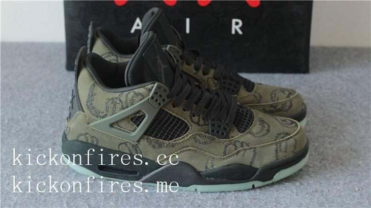 brand new 70ce2 44281 Kaws x Air Jordan 4 Olive Green