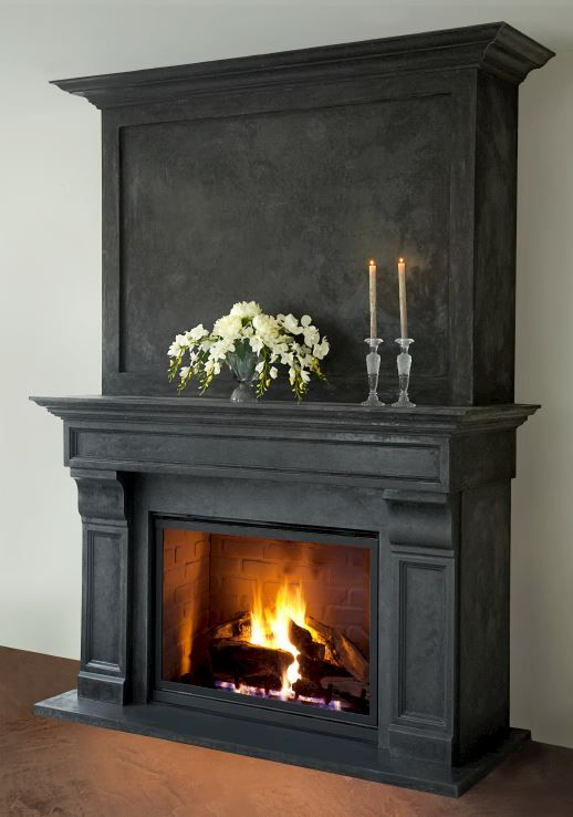 Cast stone fireplace mantel and overmantel