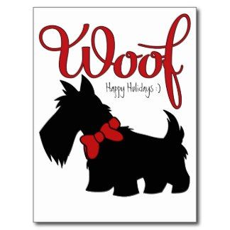 scottish terrier vintage xmas cards   Holiday Home Scottish Terrier Christmas Postcard