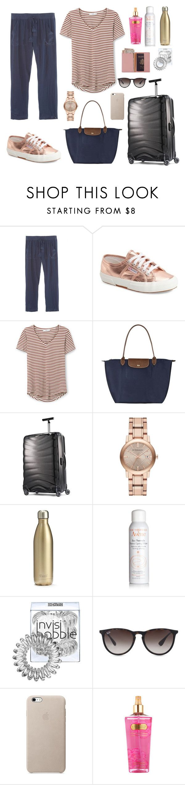 """Airport to Ibiza✈️☀️"" by cstyles ❤ liked on Polyvore featuring Calypso St. Barth, Superga, MANGO, Longchamp, Samsonite, Burberry, S'well, Avène, Invisibobble and Ray-Ban"