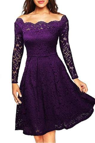 Witching Purple Lace Irregular Trim Cocktail Dress Knee Length