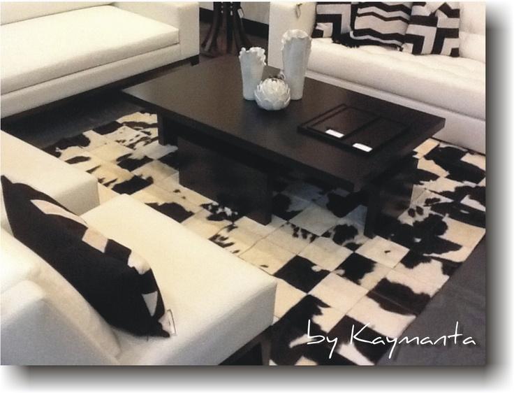 Black/White Patchwork Cowhide Rug 8 x 10 Ft. Hair on Cow Leather Carpet |  Leder in interieur | Pinterest