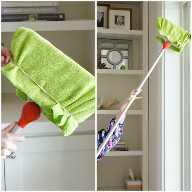 Limpiar lugares inaccesibles  con un trapo de microfibra amarrado a la escoba con una goma