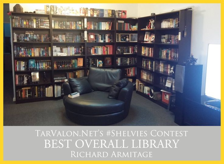 We saw some amazing collections, and are extremely jealous of all of them, but the votes have been tallied and we're happy to announce the winners of our first #TVNetShelvies Contest, all of which are winning a $10 gift certificate to Ta'Veren Tees!  In the Best Overall Library Category, Richard Armitage is our winner! Everyone fell in love with the collection, as well as the super-comfy reading chair that's set up right there.