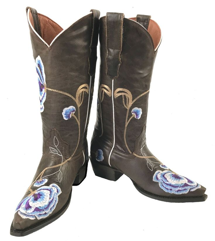 Women's Embroidered Leather Cowgirl Western Biker Rodeo Boots Brown Sale