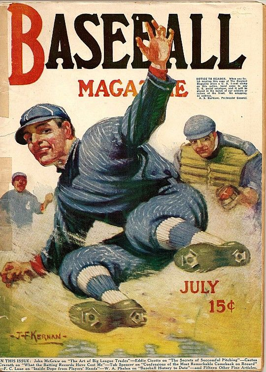 'Baseball Magazine Cover, July 1916' by Joseph Francis Kernan (American- 1878-1958) : Original Oil on Canvas