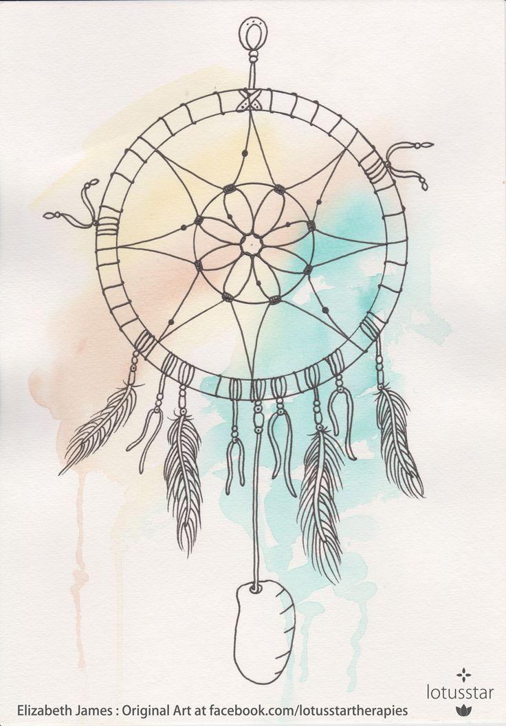 'Dreamcatcher2' in watercolour and ink 21x30cm by Elizabeth James. Original available via http://www.facebook.com/media/set/?set=a.675692062503221.1073741835.318539891551775&type=3  #dreamcatcher #watercolour #ink #art #elizabethjames #lotusstar #adelaide