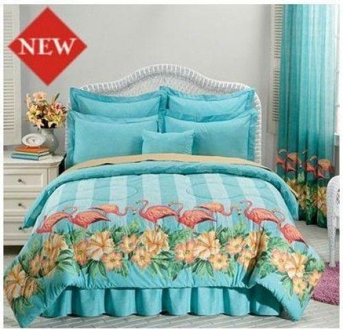King Size Flamingo Comforter Bedskirt Shams Hibicus 4pc Hawaiian Tropical New | eBay