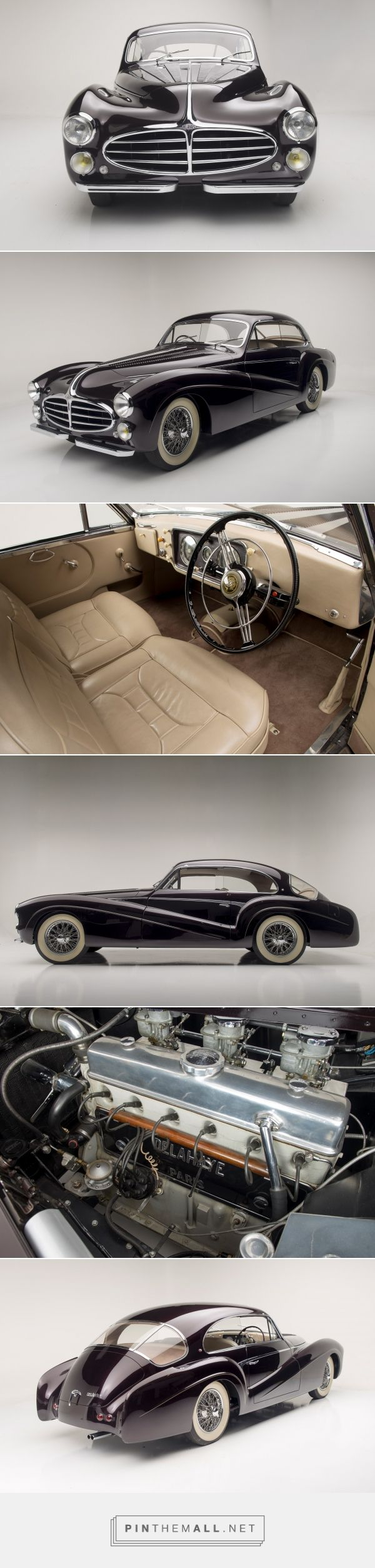 1953 Delahaye 235 - Type 235 coupe that has unique and stunning bodywork by Saoutchik, engine is a straight 6-cylinder topped by three carburetors, providing more than 150 horsepower and a top speed of more than 100 miles per hour. - created via https://pinthemall.net